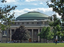 The neoclassical Convocation Hall is characterized by its domed roof and Ionic-pillared rotunda.