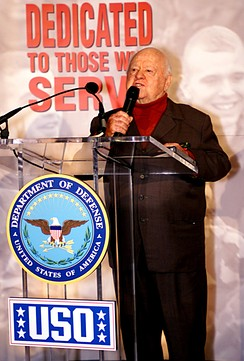 Actor Mickey Rooney, a World War II Bronze Star recipient, honoring the USO in 2000