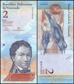 A light blue Venezuelan banknote featuring Francisco de Miranda on the obverse and two river dolphins on the reverse.