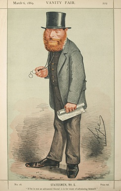 "William Edward Forster caricatured by ""Ape"" in Vanity Fair, 1859"