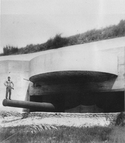 One of the twelve-inch guns at Battery Langdon, after the concrete casemate was completed in 1943.
