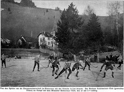A ice hockey game between Berliner Schlittschuhclub and Brussels Royal IHSC, January 1910