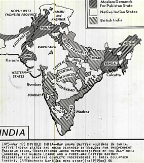 The Partition of British India was based on religion. The negotiations failed several times, with differing demands about boundaries, as shown in this map of 1946.