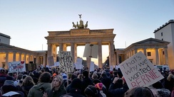 An anti-Trump protest in Berlin, Germany in front of the Brandenburg Gate