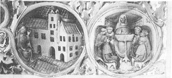 Albert inaugurates the Collegium ducale (left), theological lecture (right), contemporary illumination