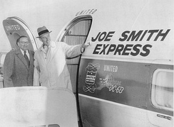 Stevenson and supporter Joe Smith leave Chicago's O'Hare Airport for four days of campaigning in the Pacific Northwest and California.