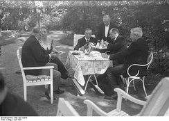 British politicians with German diplomats in the garden of the Foreign Office in July 1931.