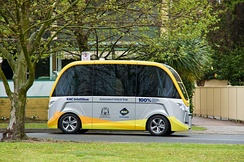 NAVYA autonomous bus being trialed on road in Western Australia during 2016