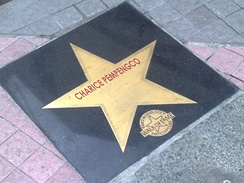 "Zyrus's star, bearing the name ""Charice Pempengco"", a name he was known as prior to his gender transition, in the Eastwood City Walk of Fame, the Philippine equivalent of the Hollywood Walk of Fame."