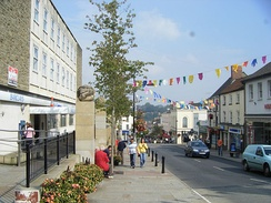 Chepstow High Street, showing festival bunting