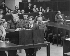 Chief prosecutor, James M. McHaney, examines defendant Gerhard Rose at the Doctors' trial