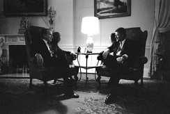 Nixon visiting President Bill Clinton in the White House family quarters, March 1993