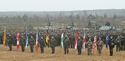 Lithuanian Army soldiers with their NATO allies during Iron Sword 2014