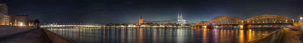 Panoramic view of the city at night as seen from Deutz; from left to right: Deutz Bridge, Great St. Martin Church, Cologne Cathedral, Hohenzollern Bridge