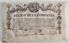Stock certificate of the Guipuzcoana Company (Madrid, 10 December 1729