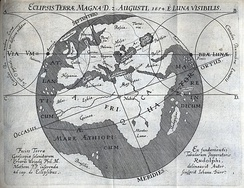 Erhard Weigel, predicted course of moon shadow on 12 August 1654 (O.S. 2 August)