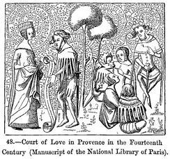 Court of Love in Provence in the 14th century (after a manuscript in the Bibliothèque Nationale, Paris)