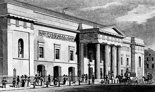 An illustration of the Theatre Royal, Covent Garden, by Thomas H. Shepherd, published in 1827–28. It became known as the Royal Opera House in 1892.