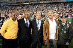 Elway (second from right) at Super Bowl XLIII with Lynn Swann, Roger Craig, Roger Goodell, and General David Petraeus