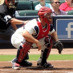 Evan Gattis catching for the Braves in 2013