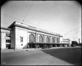 Exterior view of the Southern Pacific Depot, ca.1918