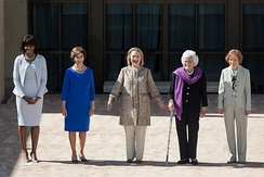 Barbara Bush (second-from-right) joins Michelle Obama, Laura Bush, Hillary Clinton, and Rosalynn Carter at the opening of the George W. Bush Presidential Center in Dallas, 2013