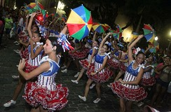 Frevo dancers. The Frevo was included on the UNESCO's list of intangible heritage.[24]
