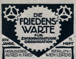 Cover of Die Friedens-Warte, a German journal of the peace movement, issue #11, 1913