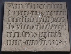 German inscription recording the building of Bozen-Bolzano's Parish Church (South Tyrol) by Hans Lutz of Schussenried, from the early 16th century (1501–1519)
