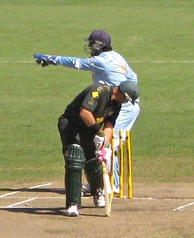 Hayden survives an appeal for a stumping by MS Dhoni in his last ODI, March 2008.