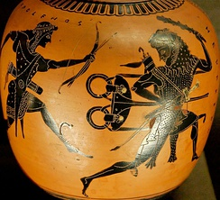 Heracles steals Apollo's tripod, Attic black-figure oinochoe, ca. 520 BC.
