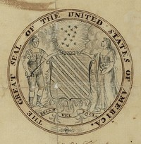 Second committee's seal proposal, drawn by Francis Hopkinson