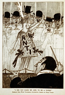"A chorus of disreputable men supports an anti-suffrage woman in this 1915 cartoon from Puck magazine. The caption ""I did not raise my girl to be a voter"" parodies the antiwar song ""I Didn't Raise My Boy To Be A Soldier""."