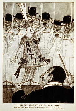 "Satirical political cartoon that appeared in Puck magazine, October 9, 1915. Caption ""I did not raise my girl to be a voter"" parodies the anti-World War I song ""I Didn't Raise My Boy To Be A Soldier"". A chorus of disreputable men support a lone anti-suffrage woman."
