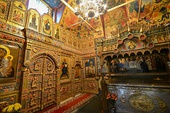 Interior of Saint Basil's Cathedral, full of icons painted in the Byzantine style
