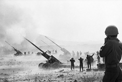 Israeli M-46s open fire on Syrian positions during the Yom Kippur War.