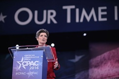 Ernst speaking at the Conservative Political Action Conference.