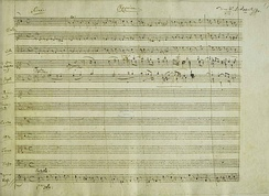 A portion of the manuscript of Mozart's Requiem, K 626 (1791), showing his heading for the first movement.