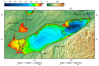 "Lake Erie and Lake Saint Clair bathymetric map.[29][30][31][32] The deepest point is marked with ""×"".[33]"