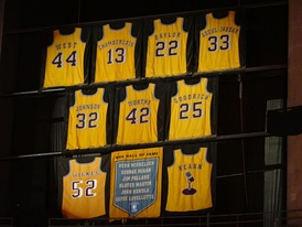 Los Angeles Lakers retired numbers displayed at the Staples Center in 2013
