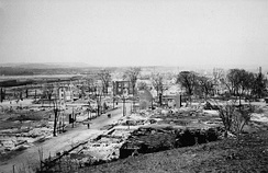 Lebreton Flats after the 1900 Hull–Ottawa fire. The fire destroyed one-fifth of Ottawa, and two-thirds of neighbouring Hull, Quebec.