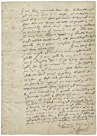 "A letter from Leicester to Elizabeth I, written at the Armada camp and signed with his nickname, ""Eyes"""