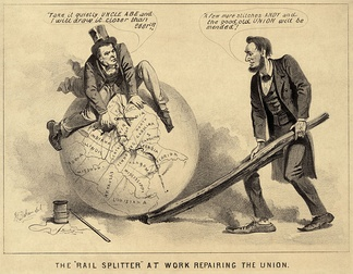 "A political cartoon of Andrew Johnson and Abraham Lincoln, 1865, entitled ""The 'Rail Splitter' at Work Repairing the Union"". The caption reads (Johnson): Take it quietly Uncle Abe and I will draw it closer than ever!! (Lincoln): A few more stitches Andy and the good old Union will be mended!"