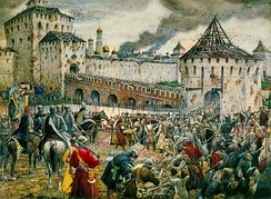 The Poles surrender the Moscow Kremlin to Prince Pozharsky in 1612.