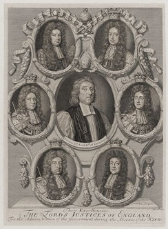 Black-and-white depiction of six small portraits arrayed in a circle around a larger portrait