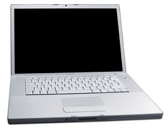 The MacBook Pro, Apple's first laptop with an Intel microprocessor, introduced in 2006.