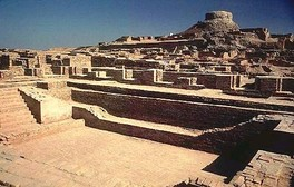 Excavated ruins of Mohenjo-daro, Sindh province, Pakistan, showing the Great Bath in the foreground. Mohenjo-daro, on the right bank of the Indus River, is a UNESCO World Heritage Site, the first site in South Asia to be so declared.