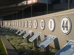 Plaques lined the rear wall of the original Monument Park