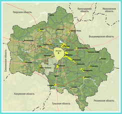 Map of Moscow Oblast and the federal city of Moscow