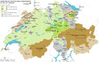 Map of the Swiss Confederacy during the 18th century. Member cantons are shown in green, associates in brown, condominiums in grey.